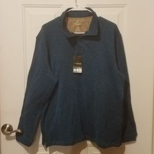 Haggar in motion large teal 3/4 zip sweater